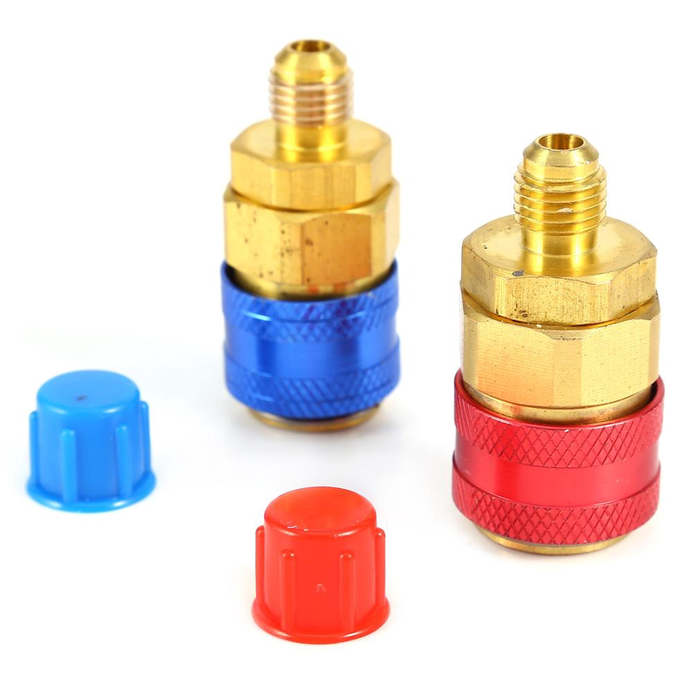 """2Pcs A//C R134a Quick Couplers Connector High /&Low Side Adapter 1//4/"""" Flare"""