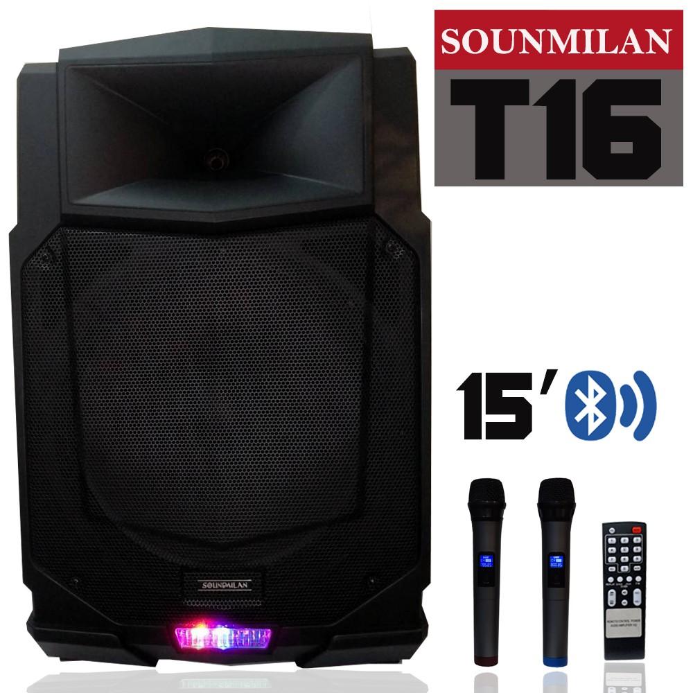 ตู้ลำโพง15นิ้ว 80W มีไฟLED Soundmilan รุ่น T16
