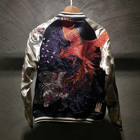SUKAJAN พร้อมส่ง พรีเมียมเกรด Japanese Souvenir Jacket  แจ็คเกตซูกาจันลายสี่เทพฟีนิกซ์เพลิง