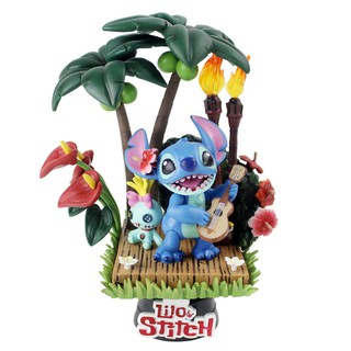 ♠✐﹍15cm Lilo and Stitch Figure Toy Scrump Playing Guitar Friend Select 004 Model Doll With Base