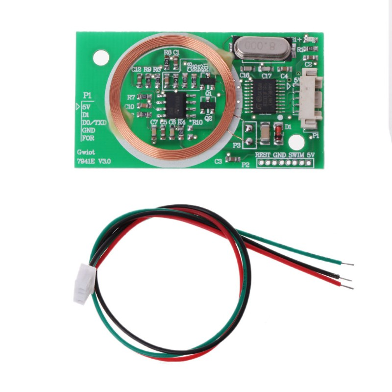 RFID Reader Wireless Module UART 125KHz Card Reading EM4100 8CM DC 5V