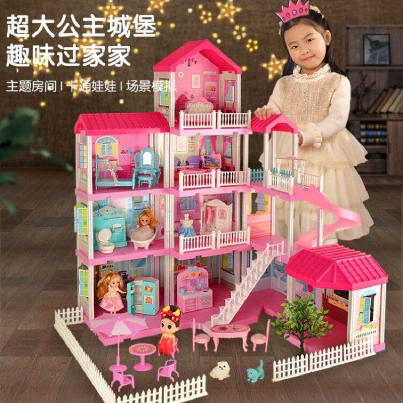 เด็กของเล่นสาวbarbiตุ๊กตาบาร์บี้บ้านวิลล่าชุดใหญ่เจ้าหญิงของขวัญวันเกิดเล่นบ้านปราสาท