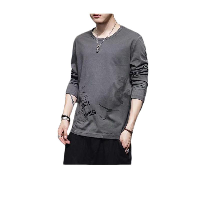 เสื้อยืด ฮ่องกง เสื้อสเวตเตอร์ เสื้อหลวมผู้ชาย คอกลม แขนยาว เสื้อหนาว(841)