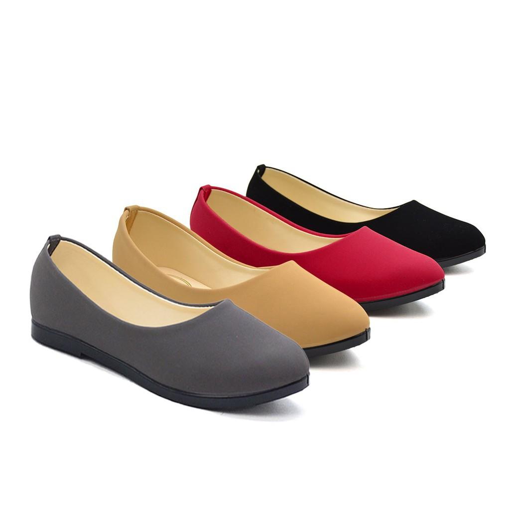 รองเท้าผู้หญิง VM12 รองเท้าคัชชู ส้นเตี้ย หัวแหลม หนังนูบัค