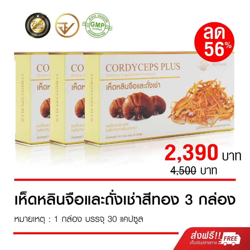 เห็ดหลินจือแดงผสมถั่งเช่าสีทอง Cordyceps Plus คอร์ไดร์เซฟ (30 แคปซูล) 3กล่อง ราคาพิเศษ!! 2,390 บาท