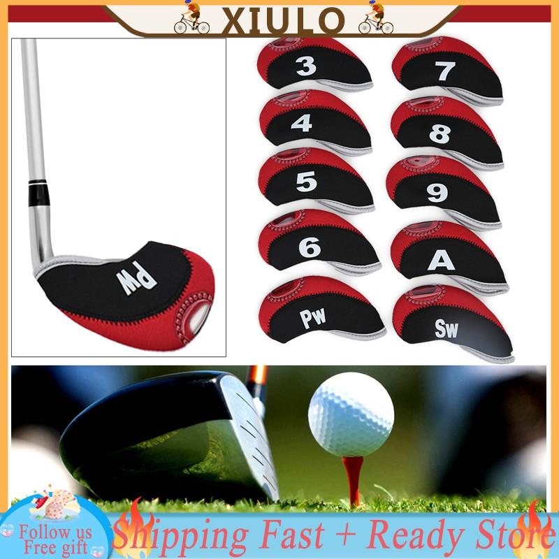 480554226ecb ❀XIULOREADY❀10pcs Waterproof Golf Club Iron Head Covers Putter Set  Protector Case Golf Accessory