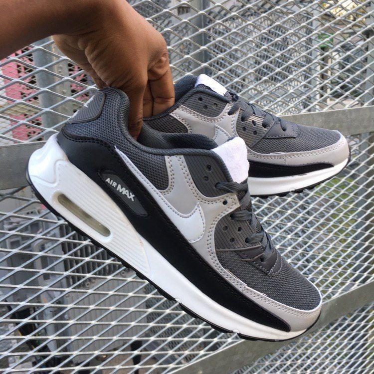 A 2275 รองเท้าผ้าใบ 41-45 Nike Airmax 90 สีเทาขาว
