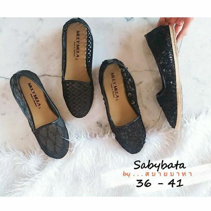 รองเท้าลูกไม้ สีดำ ♥️ไซส์ 36-41♥️ คัชชูดำ รองเท้าดำ รองเท้าขอบสาน