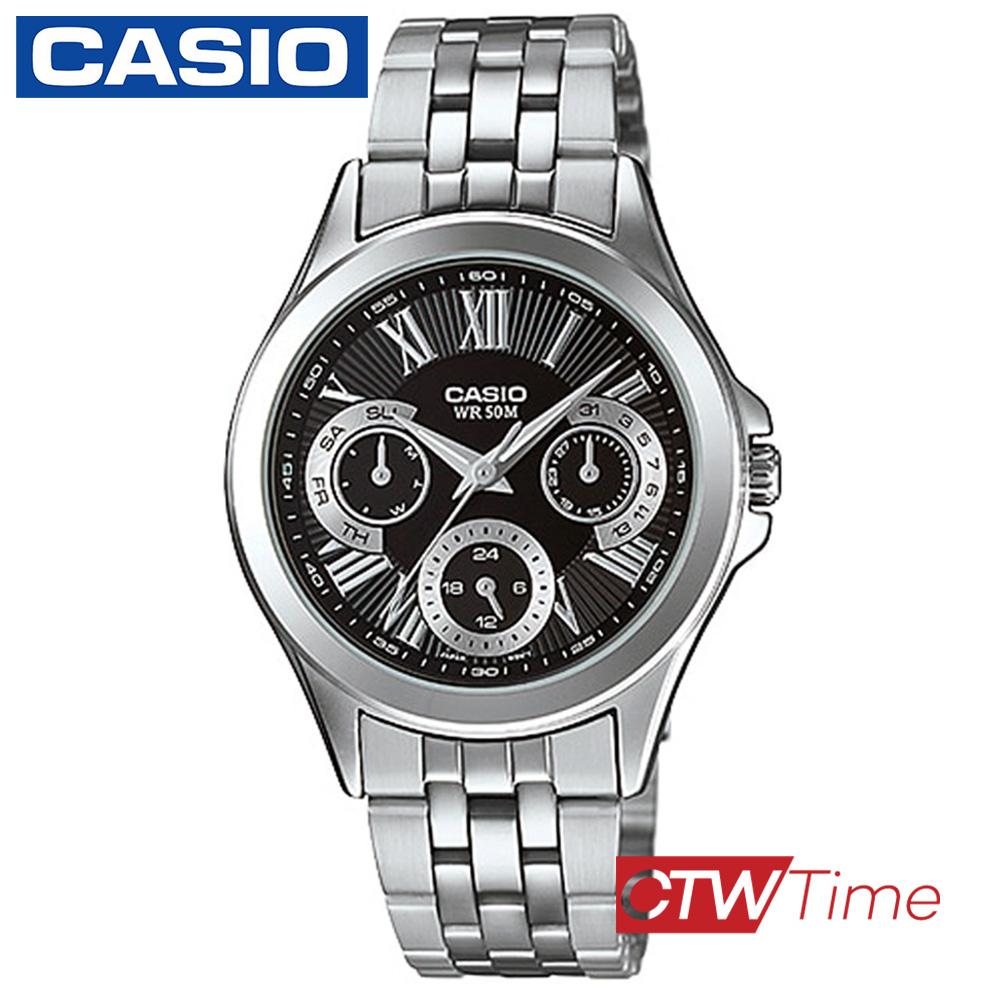ส่งฟรี !! Casio Standard นาฬิกาข้อมือ สายสแตนเลส รุ่น LTP-E308D-1AVDF (หน้าปัดสีดำ) 466h