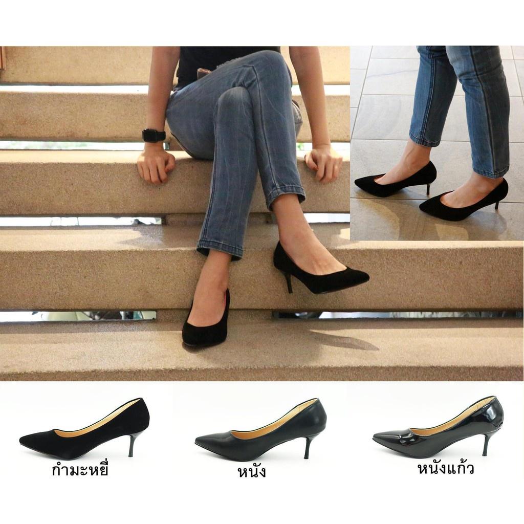 รองเท้าส้นแก้ว รองเท้าส้นสูงแฟชั่น ✭รองเท้า 9696 รองเท้าผู้หญิง รองเท้าคัชชู หัวแหลม ส้นสูง รองเท้าคัชชูสีดำ รองเท้าส้นส