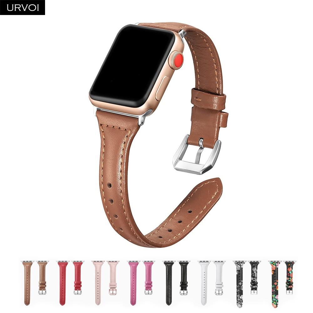 Urvoi สายนาฬิกาข้อมือหนังแท้สําหรับ Apple Watch Band Series 5 / 4 / 3 / 2 / 1