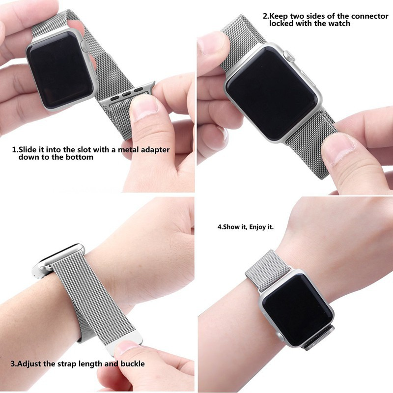 วงนาฬิกาโลหะแม่เหล็กมิลานi Watch 3/4/5 Milanese magnetic metal strap Apple Watch strap Milan IWATCH Strap Magnet stainless steel metal for iWatch series 3/4/5 Iphone watch with Apple Watch strap 38mm 40mm 42mm 44mm unisex