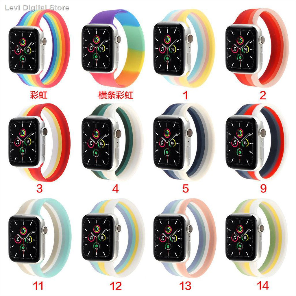 【อุปกรณ์เสริมของ applewatch】♈۩●สายรัดสากลของ Applewatch iwatch6 / 5/4/3/21 ซิลิโคนแบบหน้าเดียวกีฬาสายรุ้ง SE