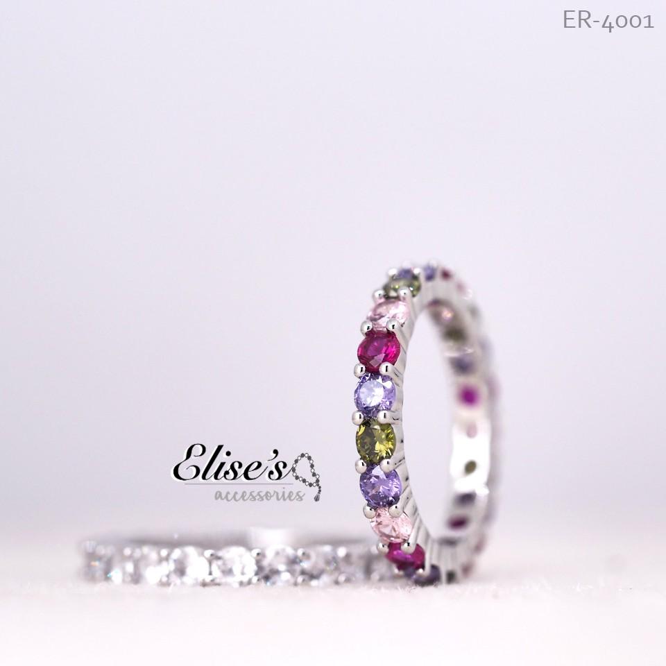 ER-4001 Elise's แหวนเพชรล้อมรอบวง CZ เกรดพรีเมี่ยม หน้าเพชร 3 มม 20 เม็ด น้ำ 100 D เคลือบทองคำขาว แหวนแต่งงาน แหวนคู่รัก