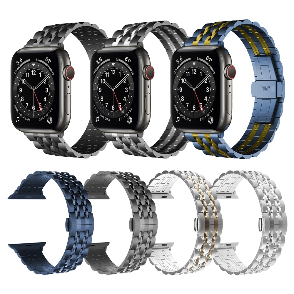 Business Metal Stainless Steel Strap For Apple Watch Band Series 6 SE 5 4 44mm 40mm Watchband for iWatch 42mm 38mm Link