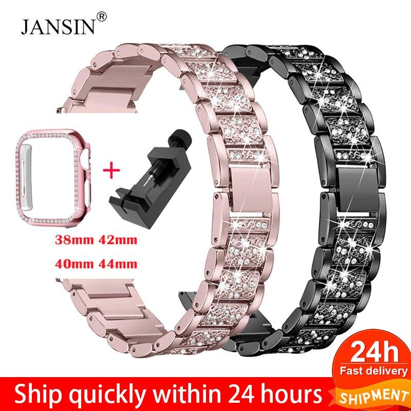 Diamond strap + Apple watch case, 40mm, 44mm, 38mm, 42mm, Iwatch series 6se 543, apple watch bracelet, stainless steel