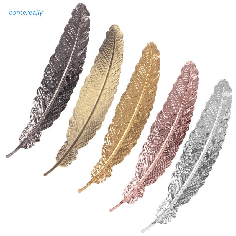 comereally Creative Retro Feather Shaped Metal Bookmark Page Marker For Books Office School
