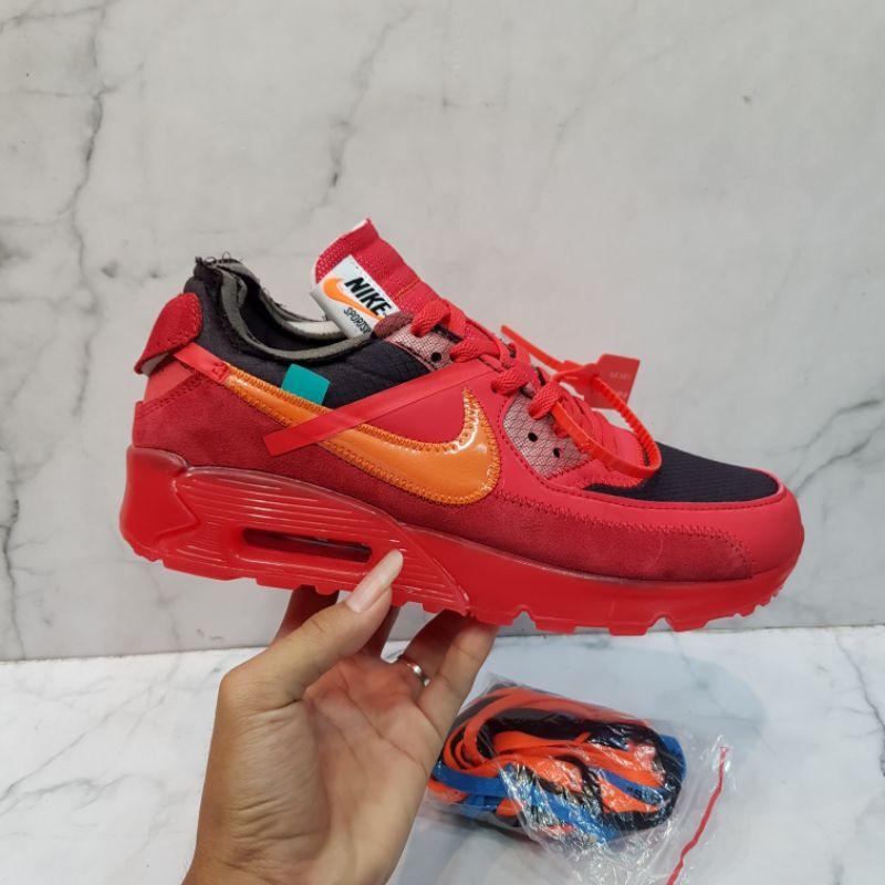 Nike Airmax 90 X Off Read รองเท้าผ้าใบลําลองสีขาวสีดํา