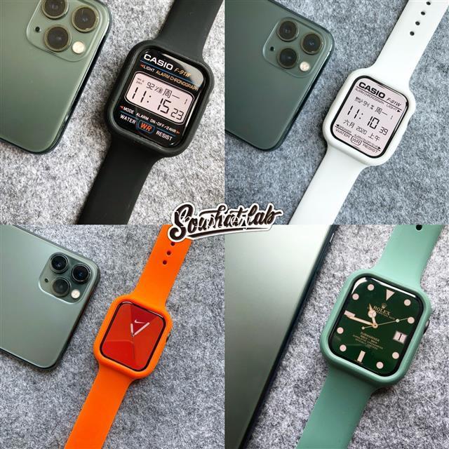 สายนาฬิกาข้อมือสีเขียวเข้มสําหรับ Applewatch 12345