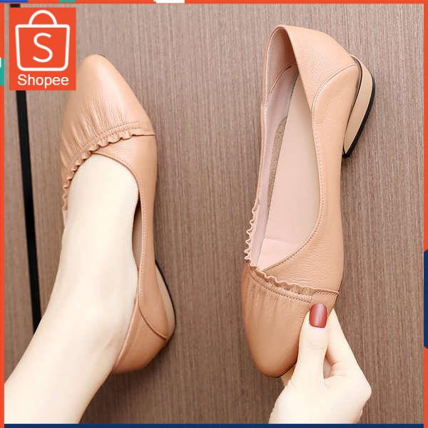รองเท้าคัชชู ใส่สบาย สำหรับผู้หญิง รุ่นสีเรียบใส่ทำงาน รองเท้าผู้หญิงรองเท้าหนังฤดูใบไม้ผลิเด็ก 2021 ใหม่แบนสุภาพสตรีปาก