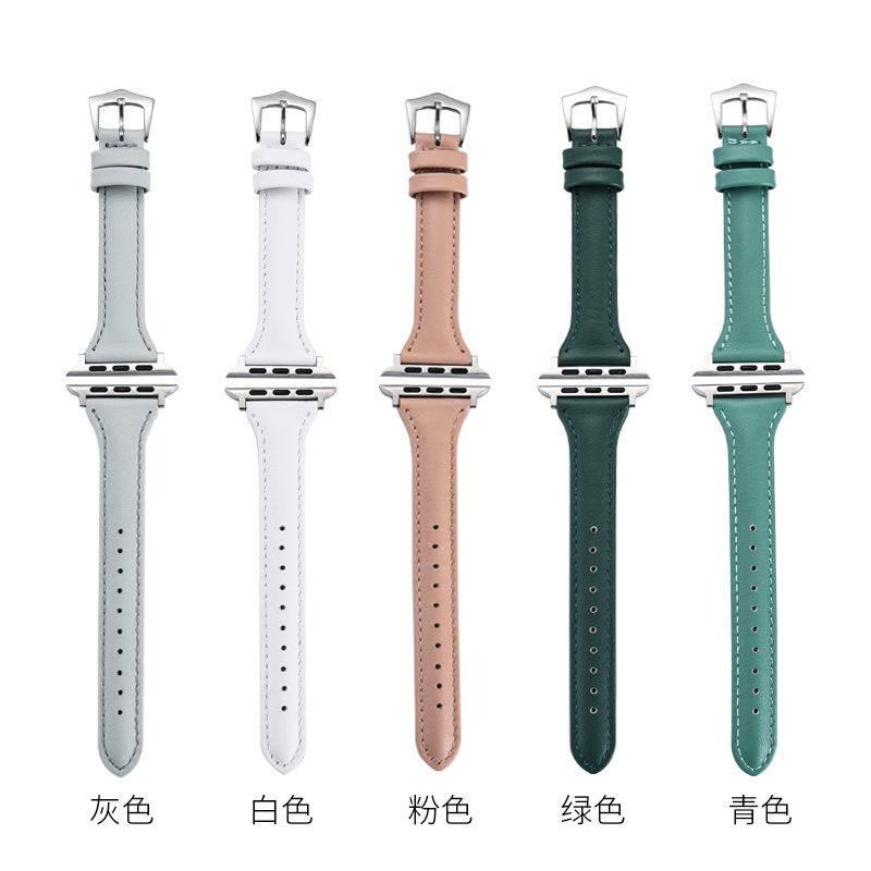 ⌚ สาย applewatch  ⌚ Apple Watch สายนาฬิกาหนังผู้ชายและผู้หญิง AppleWatch นาฬิกาที่มี 123456 รุ่น SE Apple 4244mm