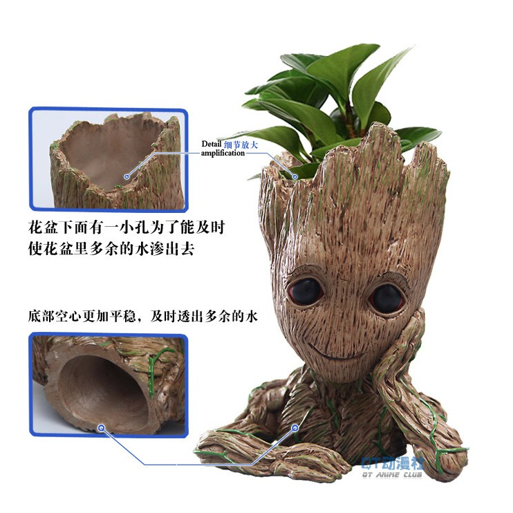 2 Baby Groot Flowerpot Figure Brush Pot Toy Gift Guardians of The Galaxy Vol