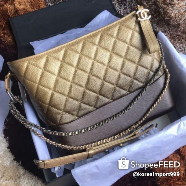 Chanel Gabrielle Hobo Metallic Caviar Leather Bag