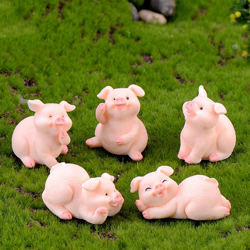 Bonsai Decoration Miniature Model Micro Pig Family Figurine Resin Ornaments