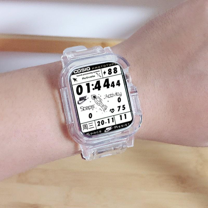 applewatch6 เข็มขัด☑ใช้ได้กับ Apple watchband iwatch 6 one-piece watch strap glacier limited applewatch 4/5 generation