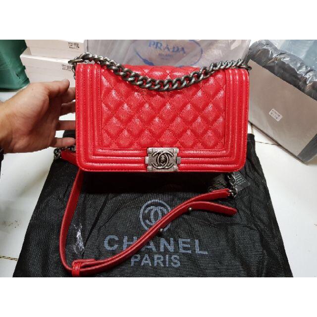 "💝ellapupe shop💝ลดราคา Chanel Boy งานพรีเมี่ยม สีแดง 10"" จำนวนจำกัด"