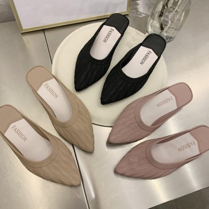 ELLA22 รองเท้าพร้อมส่ง รองเท้าคัชชู หัวแหลม รองเท้าแฟชั่น รองเท้าผู้หญิง รองเท้าส้นแบนเปิดส้น รองเท้าแตะ รองเท้ายาง