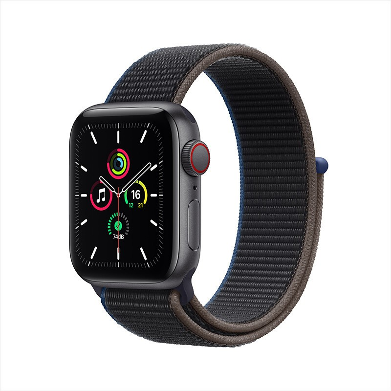Apple Watch SE Smart Watch GPS+Honeycomb 40mm Deep Space Gray Aluminum Metal Case Charcoal Color Loop StrapMYEL2CH/A
