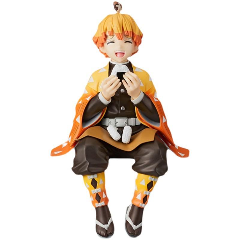 New Demon Slayer Kamado Tanjirou Agatsuma Zenitsu Eat sandwiches figurine Anime Action Figure Demon blade figures Model