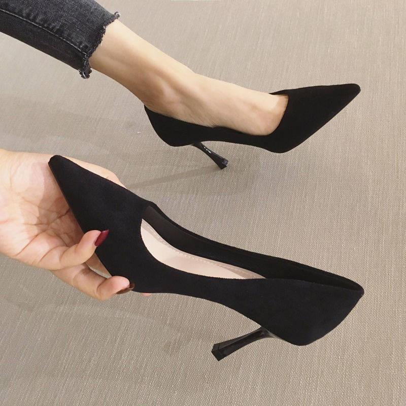 รองเท้าส้นสูง*รองเท้าคัชชู*รองเท้าส้นสูงผู้หญิง*รองเท้าเกาหลี* Pointed toe รองเท้าผู้หญิง 2020 ใหม่เกาหลีสีดำรองเท้าส้นส