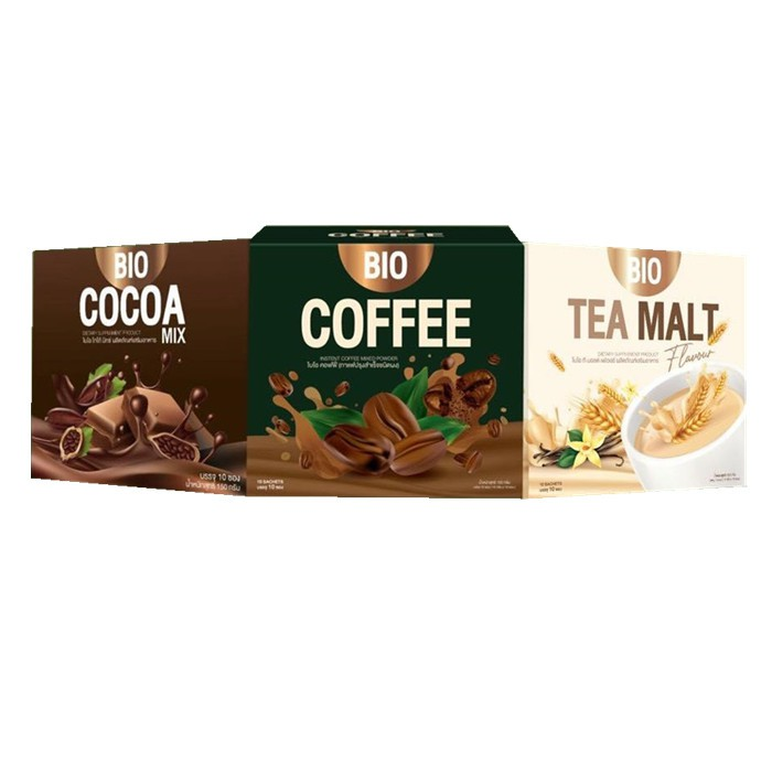 ✅แท้💯%[ราคาต่อ 1กล่อง]  Bio Cocoa โกโก้ / ชามอลต์ / กาแฟ