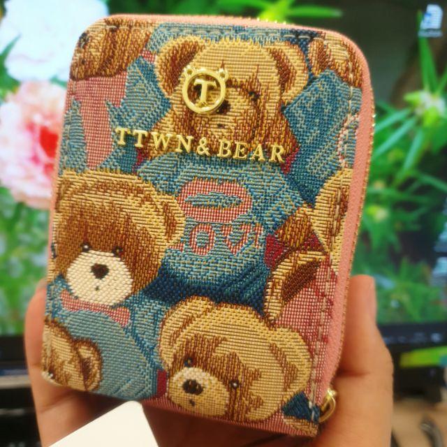 กระเป๋าใส่นามบัตร รุ่นล่าสุด สีชมพู TTWN BEAR