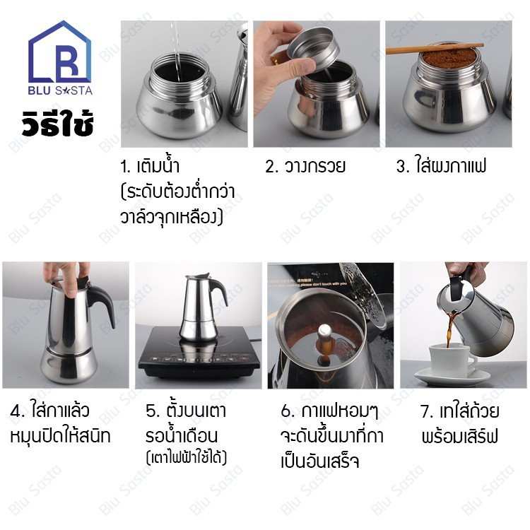 Blu Sasta กาต้มกาแฟสดพกพาสแตนเลส ขนาด 6 ถ้วยเล็ก 300 มล. หม้อต้มกาแฟแรงดัน เครื่องทำกาแฟสด โมก้าพอท มอคค่าพอท moka pot M