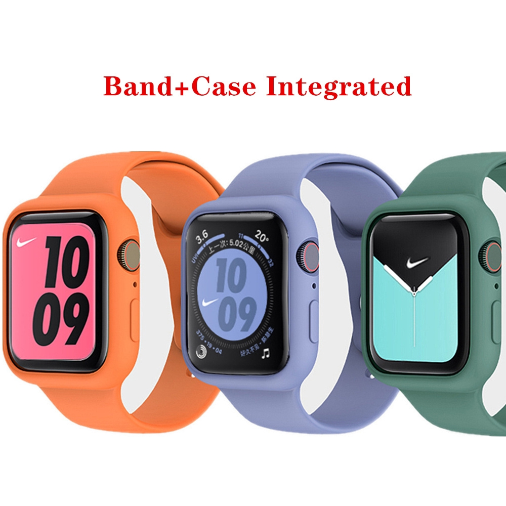 For Apple case + band watch 44 mm 40mm iwatch strap 38mm 42mm Integrated silicone watchband bracelet apple watch 5 4 3 2