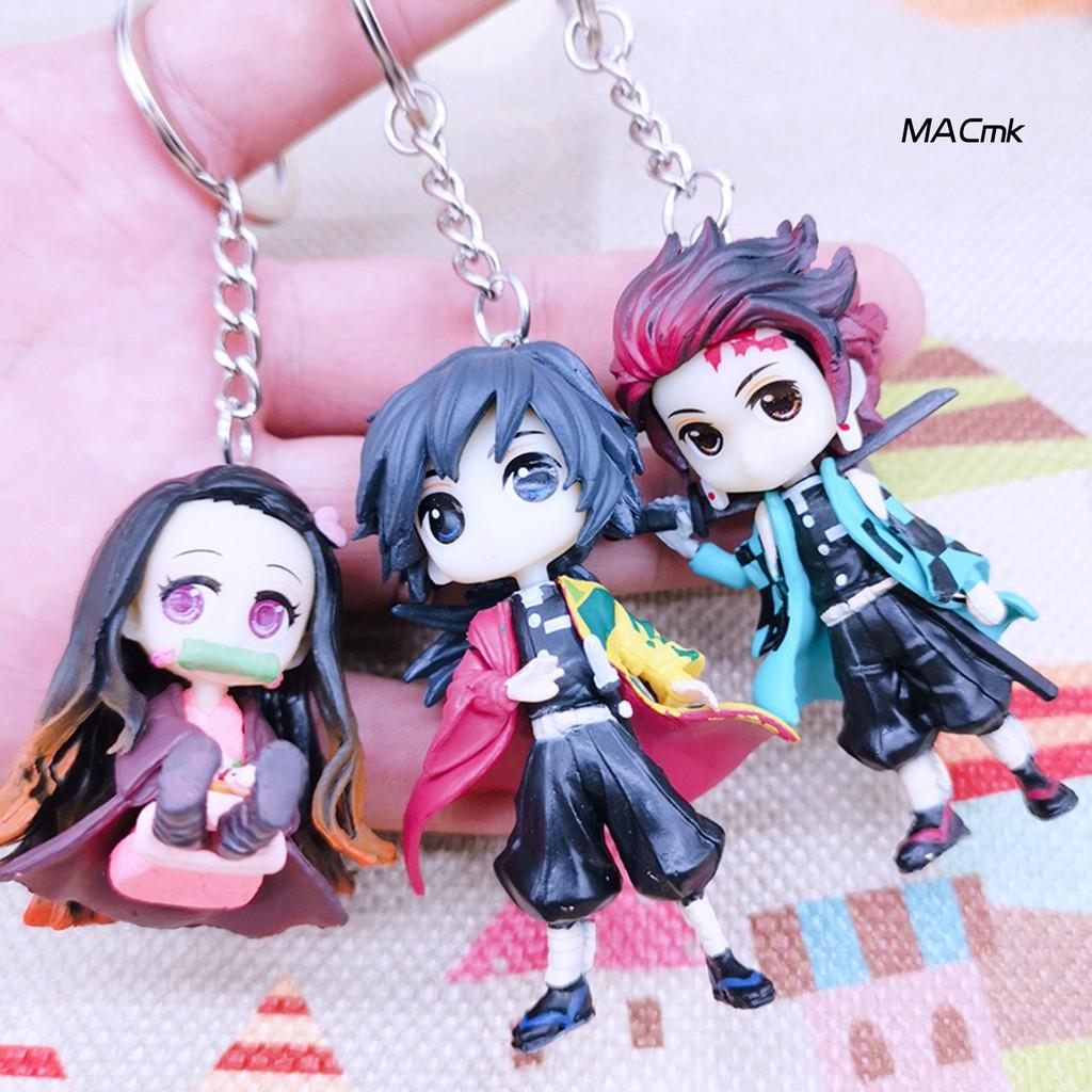 MACM_Anime Demon Slayer Model Figure Keychain Hanging Toy School Bag Pendant Gift