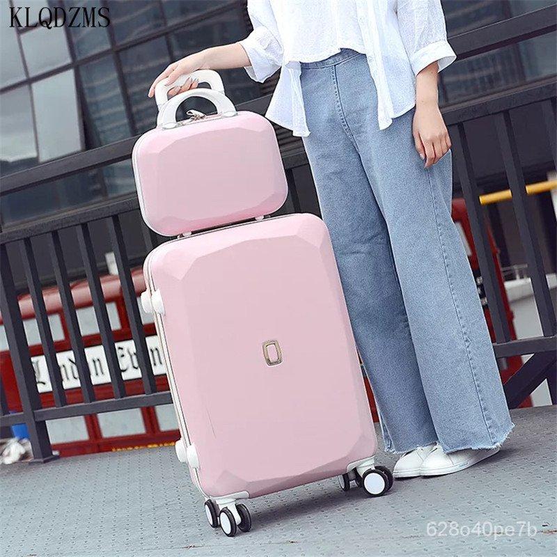 KLQDZMS 20/22/24/26 นิ้วผู้หญิงกระเป๋าเดินทางกระเป๋าเครื่องสำอางกระเป๋า ABS Rolling ชุดกระเป๋าเดินทางกับกระเป๋าถือรถเข็น