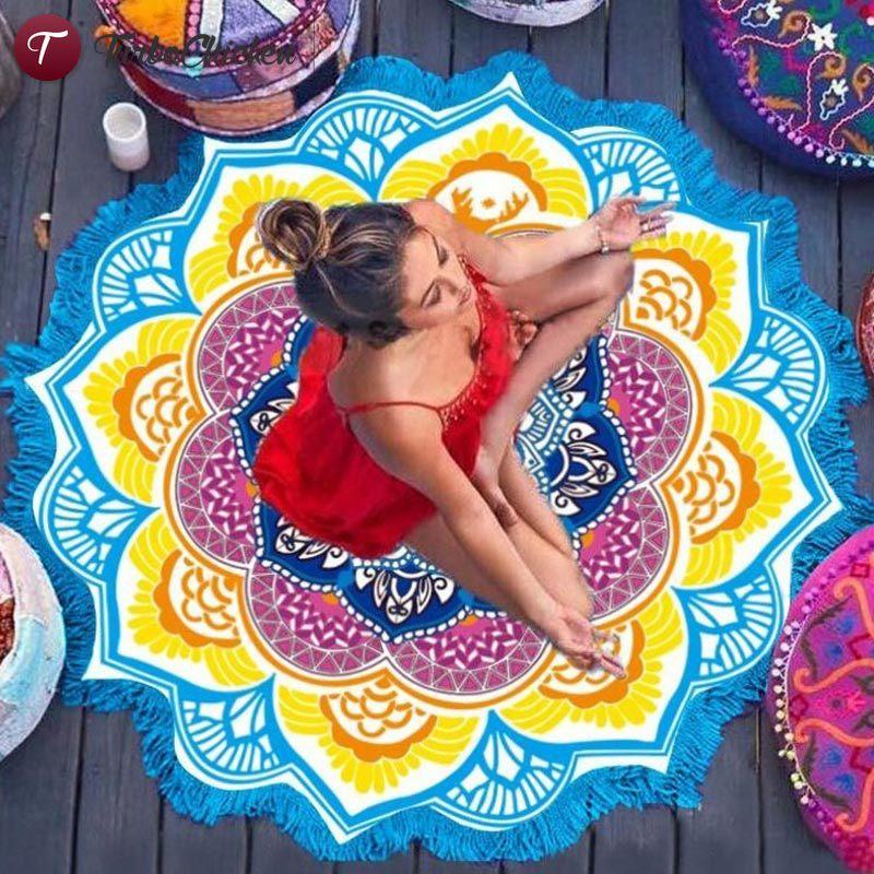 Fashion Bohemian Mandala Round Hippie Beach Mat Bikini Cover Up Towel Yoga Mat