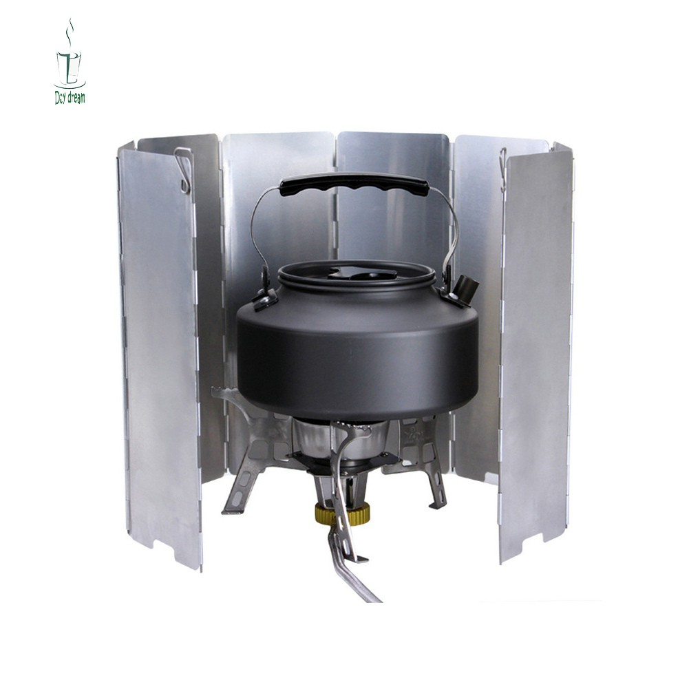 10 Plates Folding Camping Gas Cooker Stove Windshield Outdoor Picnic