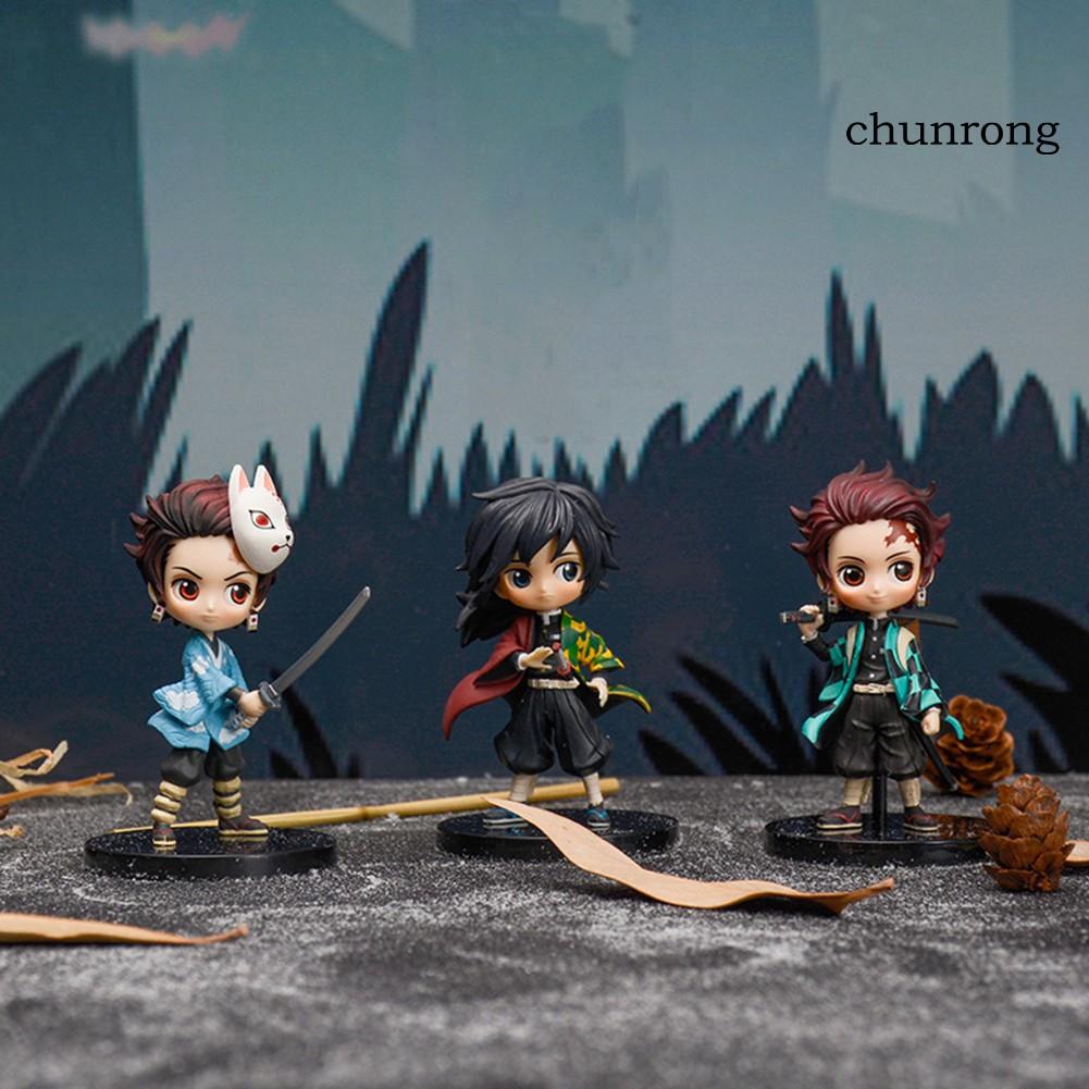 CR+3Pcs Demon Slayer Nezuko Kimetsu Action Figure Model Table Decor Toy Collection