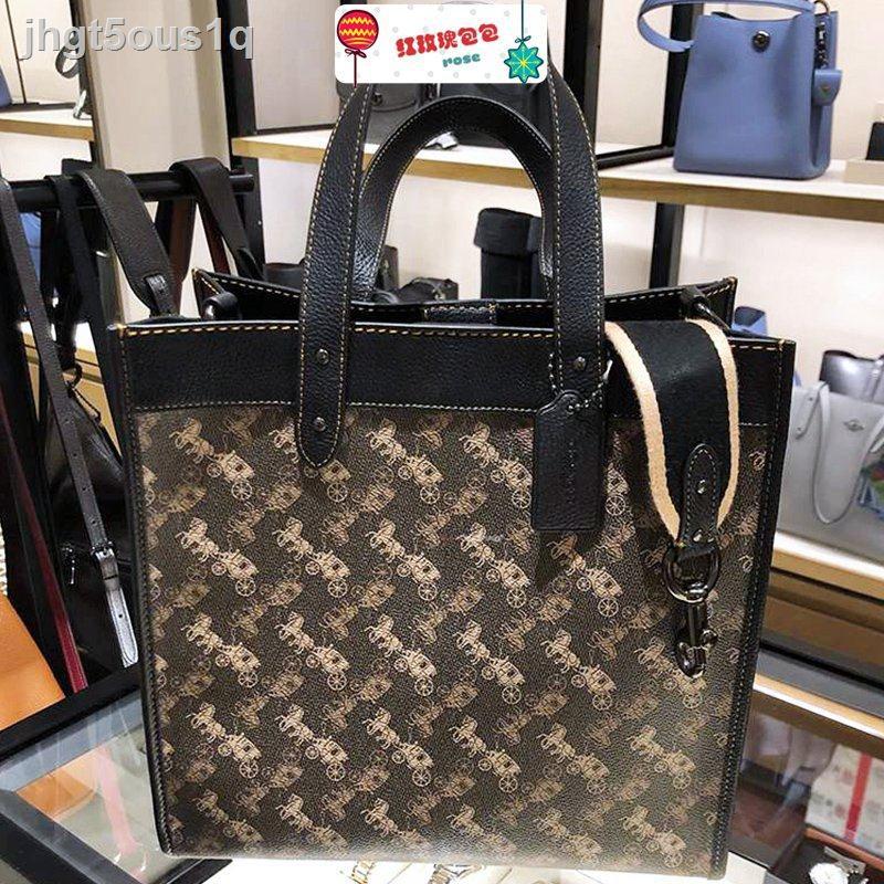 camera bag▦♝ซื้อกระเป๋า COACH / กระเป๋าผ้าแคนวาส FIELD Chambray carriage shoulder messenger handbag