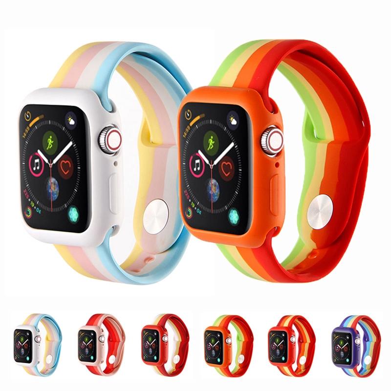สายซิลิโคนนิ่ม Apple Watch 38 มม. 40 มม. 42 มม. 44 มม. Band Series 5 4 3 2 1 iWatch 38 40 42 44 มม.สาย พิมพ์ลายสีรุ้ง สีสี่