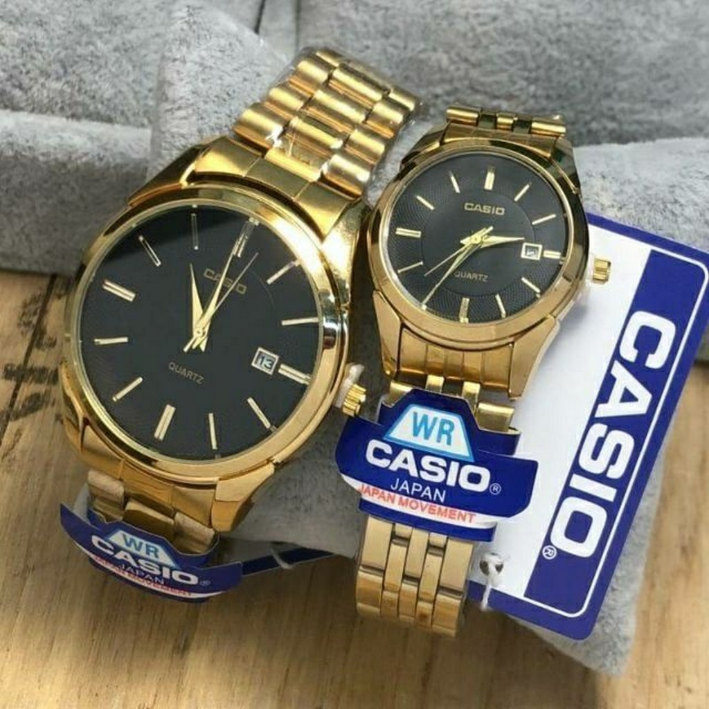 Casio คาสิโอ นาฬิกาCasio สายสแตนเลส สีทอง มีช่องบอกวันที่ หน้าปัดสแตนเลส มีเก็บเงินปลายทาง