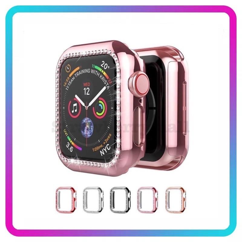 Case Apple Watch ซิลิโคน➕ เพชร 2สีพร้อมส่ง 38mm 40mm 42mm 44mm case applewatch 1/2/3/4/5/6