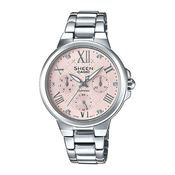 จัดส่งฟรีCasio Sheen นาฬิกาข้อมือผู้หญิง สายสแตนเลส รุ่น SHE-3511D-4A - สีเงิน