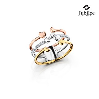 Jubilee Diamond - TRIPLETS ROW OPEN RING: HELLO KITTY [Sanrio ลิขสิทธิ์แท้]
