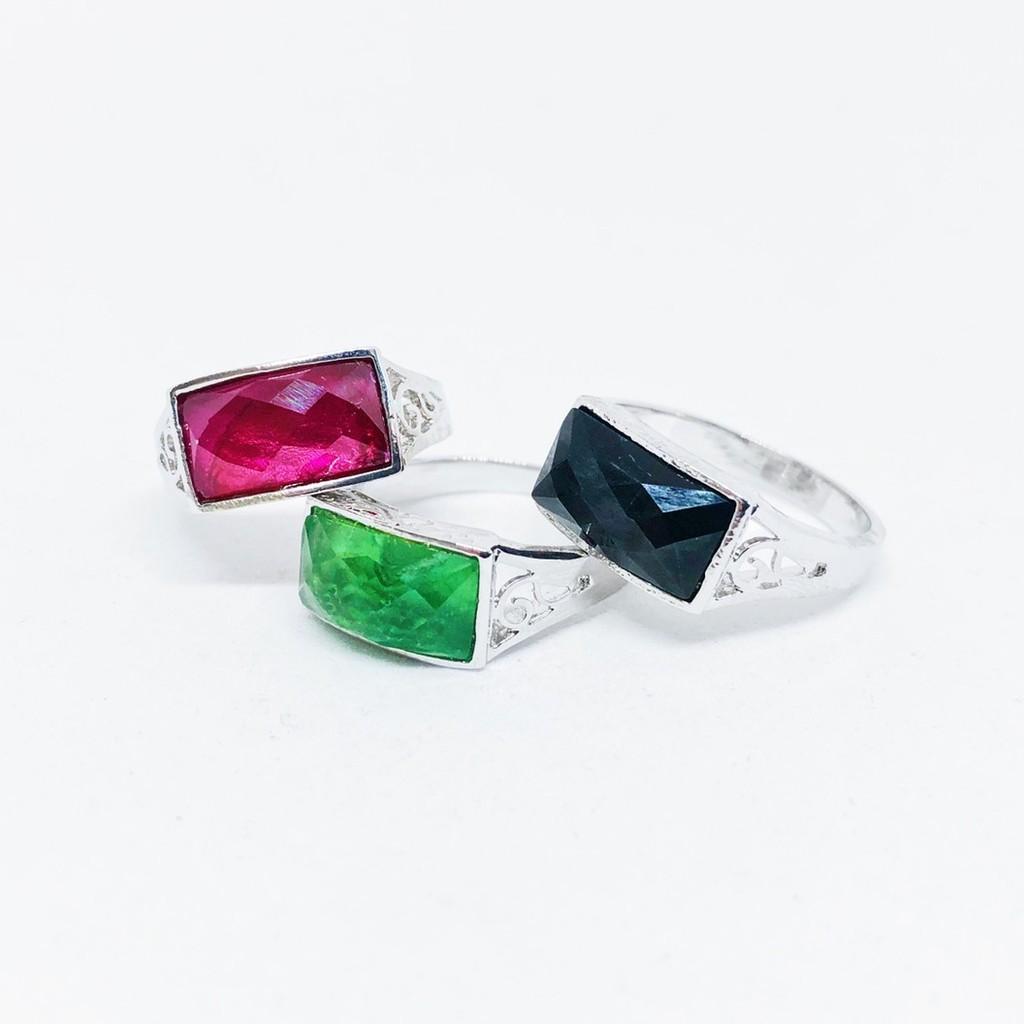 แหวนพลอยสีเสริมบารมี ประจำวันเกิด ชุบทองคำขาว ราคาพิเศษ